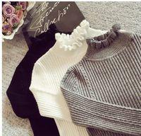 Cashmere Knit Women Sweater Pullover Ruffles Turtleneck Twist Wool Autumn Winter Long Sleeve Jumper Casual Sweater