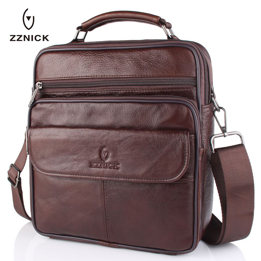 ZZNICK Brand Genuine Cow Leather Men Handbag Casual Business Mens Messenger Bag Vintage Men's Crossbody Bag Bolsas Male 7102# polo men shoulder bags famous brand casual business pu leather mens messenger bag vintage men s crossbody bag bolsa male handbag