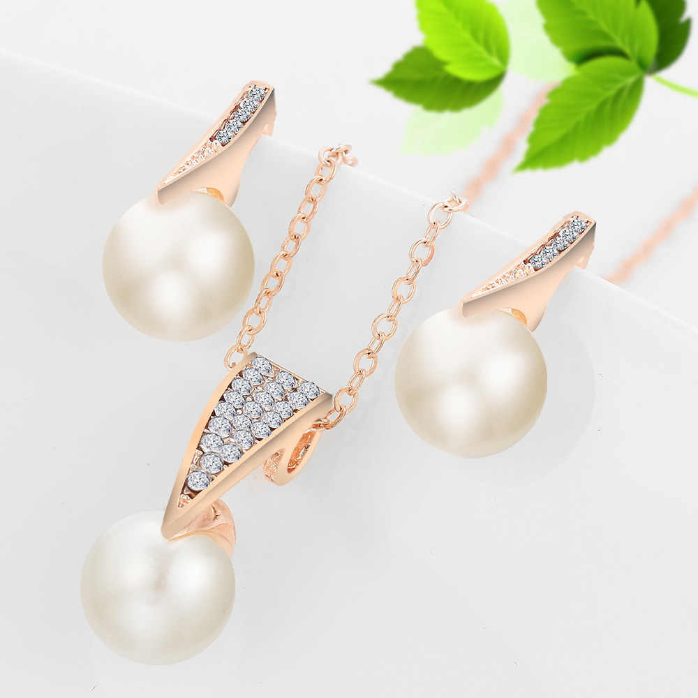 Necklace Earrings Set Women Gold Color Imitation Pearl Rhinestone Crystal  Pendant Choker Bridal Wedding Crystal Jewelry Set