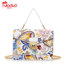 Fashion Floral Printing Women Handbags National Vintage Women Crossbody Bags 2017 High Quality PU Leather Ladies Messenger Bags
