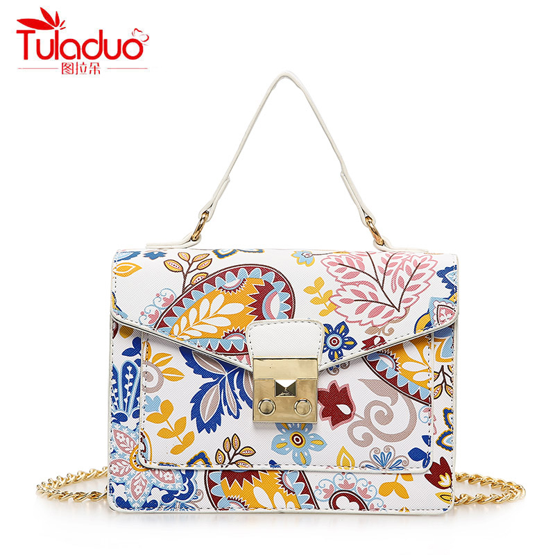 Fashion Floral Printing Women Handbags National Vintage Women Crossbody Bags Women Tote Bags PU Leather Ladies Messenger Bags xiyuan brand ladies beautiful and high grade imports pu leather national floral embroidery shoulder crossbody bags for women