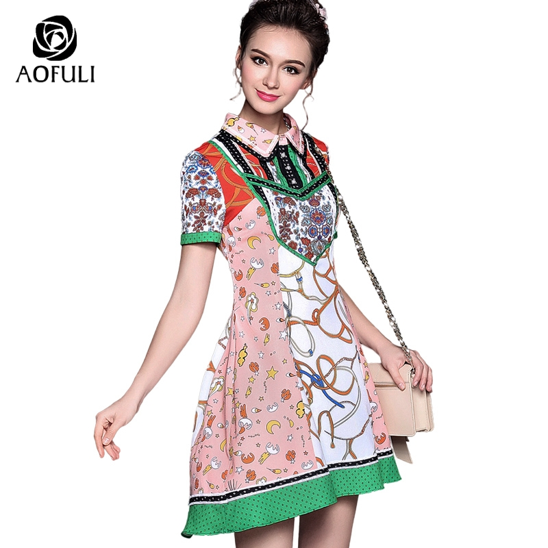 S- 5XL High Street Floral Print Trumpet Dress 2018 Big Size Women Summer  Pearl Button f2e6ce9e21bb