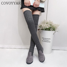 COVOYYAR 2019 Winter Fashion Women Boots Braided Over The Kn