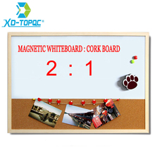 XINDI 2016 New Whiteboard and Cork Board Combination Wood Frame Magnetic With Free Marker Pens 30*40cm Shipping