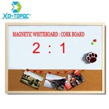 XINDI 30*40cm tablica kombinowana tablica korkowa kombinacja rama drewniana tablica magnetyczna z darmowymi pisaki
