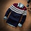 Corto Del Resorte Del Otoño Invierno de Lana de Punto de los hombres Suéter de la Navidad Pullover Jumper Jersey de Hombre Ropa de Abrigo Delgado Coreano Manswear