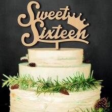 1pc novo bonito de madeira doce dezesseis bolo topper decorações do bolo para 16th aniversário festa bolo topper suprimentos festa decoração presente