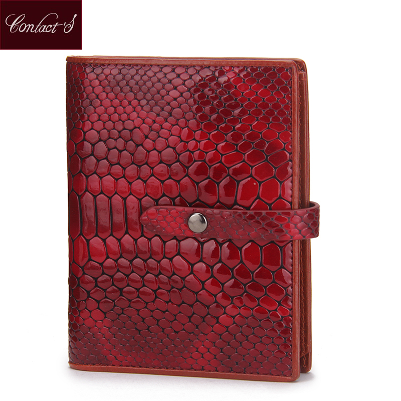 CONTACT'S Genuine Leather Women Wallets Serpentine Clutch Wallet Passport Holder Purse Brand Design Fashion Red Bag Card Holder luxury brand women genuine leather passport wallet travel wallets money purse with passport cover and license card holder case