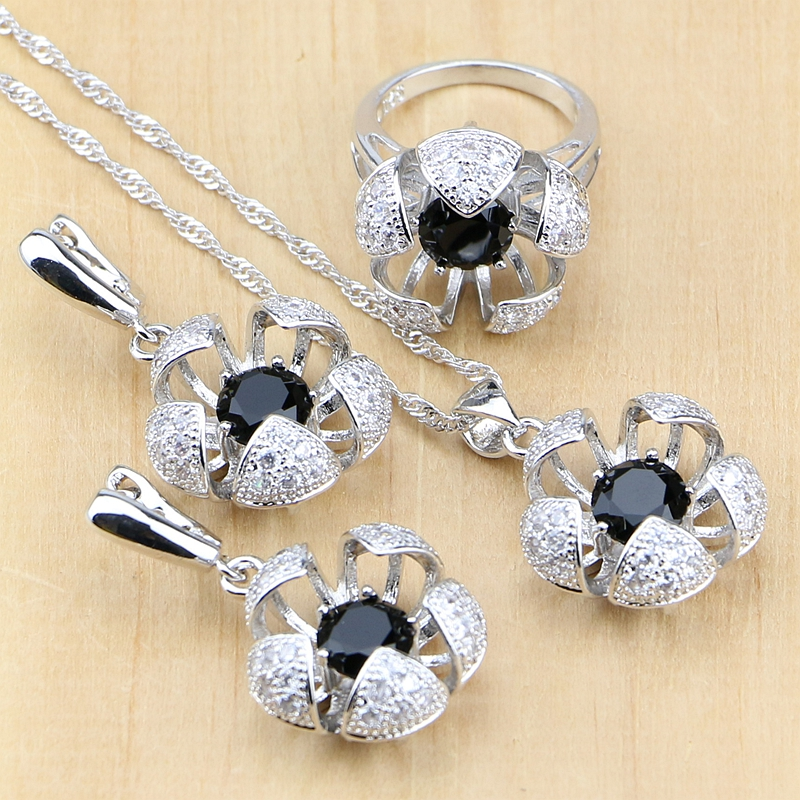 Bridal Jewelry Sets Black Stones With White Beads Silver 925 Jewelry For Women Wedding Earrings/Pendant/Ring/Necklace Set