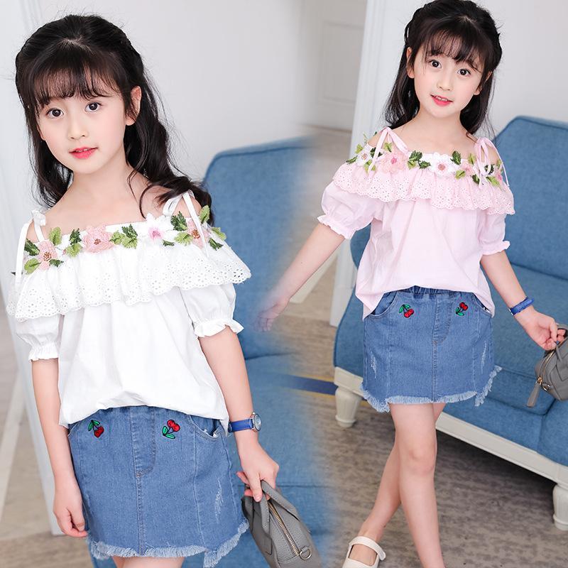 2017 New Fashion Girls Suits Flower Slash Neck Shirts Denim Skirt Children Clothing Set Summer Trend Toddler Kids Clothes Teens