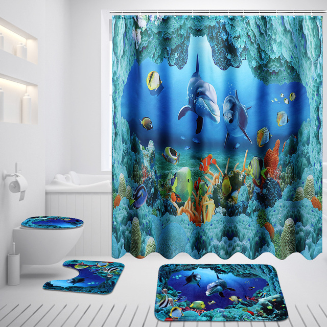 Xueqin Ocean Dolphin Deep Sea Shower Curtain Waterproof Curtains Pedestal Rug Lid Toilet Cover Bath Mat Set For Bathroom