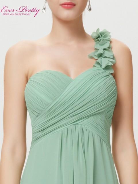 Evening Dresses Ever Pretty EP09768 Flowers Long  Blue One Shoulder Padded big size women flower chiffon 2017