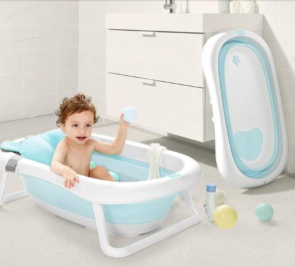 Bébé baignoire pliante bébé baignoire grand nouveau-né enfants seau de bain fournitures peuvent s'asseoir inclinable universel