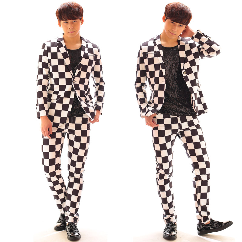 S 6XL Big yards men suits !!! 2018 Bi for gba ng gd suit black and white plaid suit set male costume