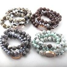 Модный красивый комплект из 3 предметов, Набор браслетов с камнем, 12 мм, натуральный камень, белая Друза, звено и стеклянные браслеты с кристаллами
