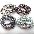 Модный красивый комплект из 3 предметов, Набор браслетов из камня, 12 мм , натуральный камень , Белый Druzy Link & Glass Crystal Pave браслеты
