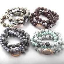 Conjuntos de pulseiras 3 pçs, conjuntos de pulseiras de pedra 12mm, pedra natural