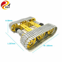 All Metal Tracked Robot Smart Car Platform Aluminum Alloy Chassis with Dual DC 9V Motor for Arduino Robot Project