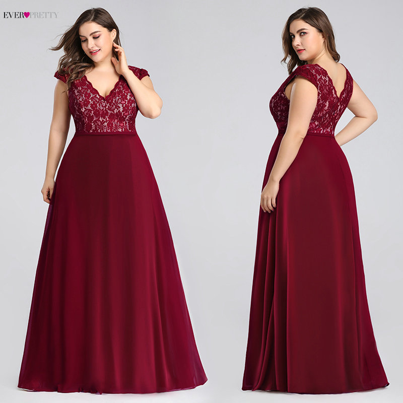 Plus Size Prom Dresses Long 2020 Ever Pretty EP07344 Elegant Burgundy A-line Sleeveless Lace Appliques V-neck Vestidos De Gala