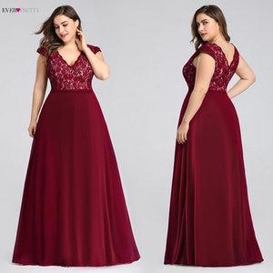 Image 1 - Plus Size Prom Dresses Long 2020 Ever Pretty EP07344 Elegant Burgundy A line Sleeveless Lace Appliques V neck Vestidos De Gala
