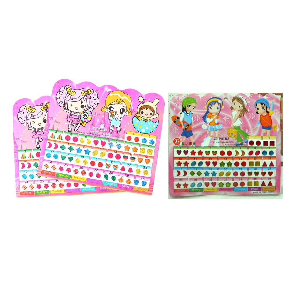 Cute 1 Sheet =60PCSWonderful Children Stickers Head Earring Cartoon Reward Crystal Stickers Toy