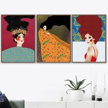 Abstract Girl Illustration Wall Art Canvas Painting Vintage Nordic Poster Cartoon Prints Pictures For Living Room Unframed