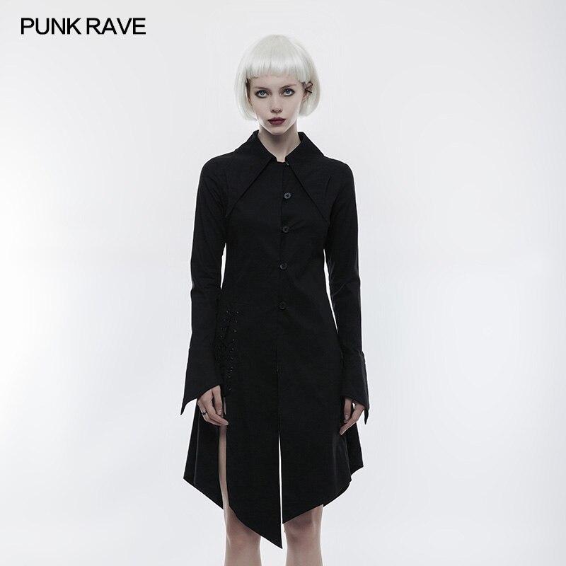 PUNK RAVE femmes gothique chemise noire coton laçage Vintage femmes longues hauts chemise mode femmes Steampunk gothique fête chemise