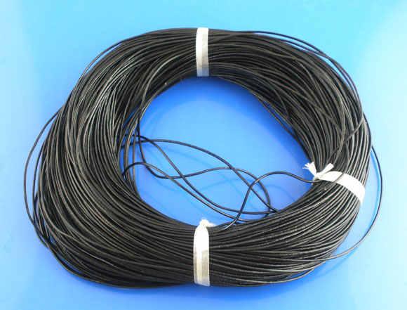 DoreenBeads حقيقية الجلود والمجوهرات حبل أسود 1 مللي متر ، 0.9 متر 2017 جديد