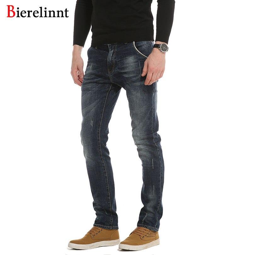 Bierelinnt эластичные прямые Лидер продаж повседневные джинсы Для мужчин, хлопок джинсовые 2018 Новое поступление хорошее качество Для мужчин джи...