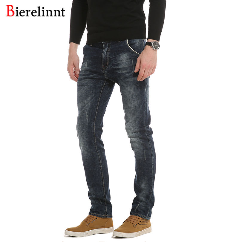 Bierelinnt Elastic Straight Fashion Hot Sale Casual Jeans Men,Cotton Denim 2017 New Arrival Good Quality Men Jeans,PG6381# hot sale cotton solid men tank top
