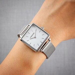 Image 5 - 2019 패션 여성 시계 쿼츠 로즈 골드 스퀘어 시계 여성 스테인레스 스틸 밴드 손목 시계 럭셔리 유명 브랜드 숙녀 시계