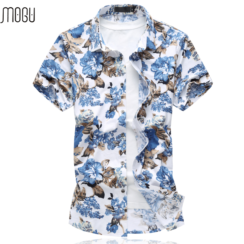 MOGU Short Sleeve Hawaiian Shirt 2017 High Quality Summer New Arrival Floral Mens Shirt  ...