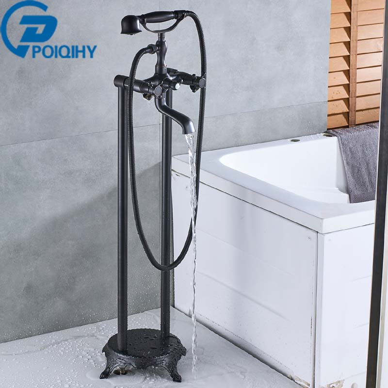 Bathtub Faucet Oil Rubbed Bronze Floor Stand Faucets Shower Free Standing Brass Floor Bathtub Mixer Tap Faucet W/Hand Shower