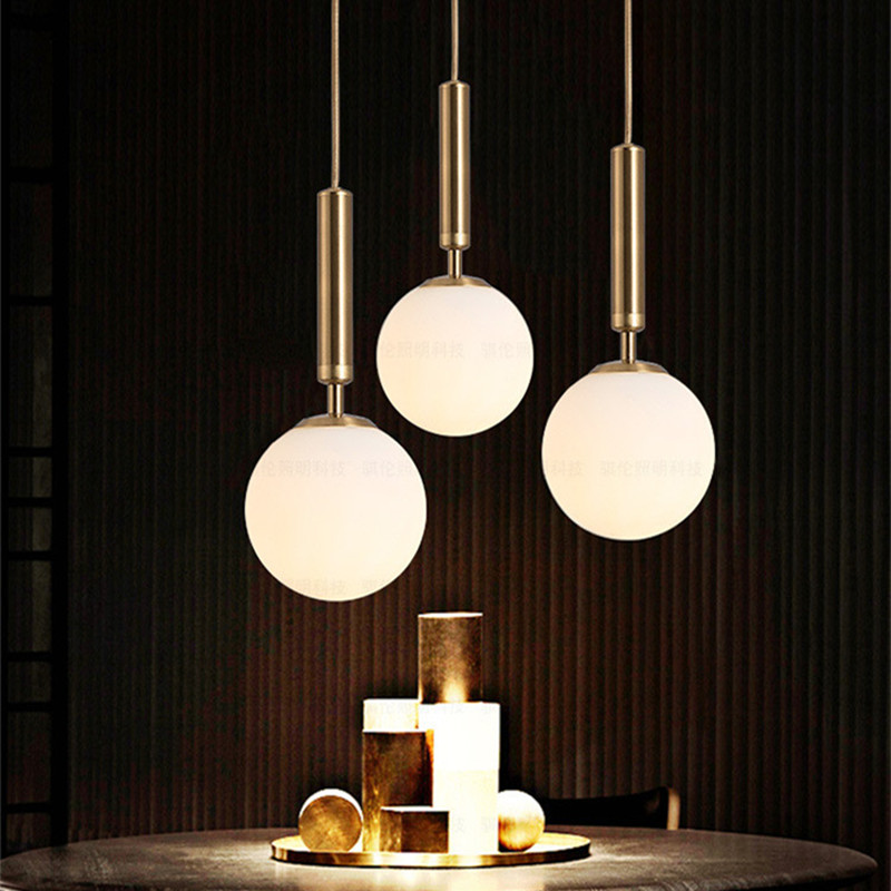 New Nordic Style Dinning Room Led Chandelier Ins Hot Magic Bean Brass Cafe Aisle Bedside Light Fixtures Free Shipping