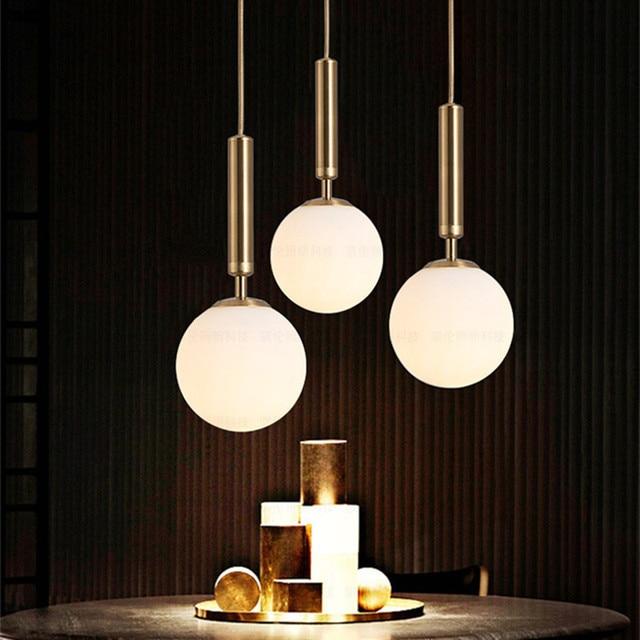 Nouveau Style nordique salle à manger Led lustre Ins chaud magique haricot laiton café allée chevet luminaires livraison gratuite