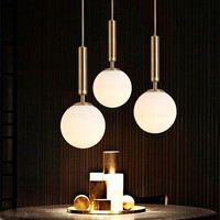 Nowy styl Nordic jadalnia Led żyrandol Ins Hot magiczna fasola mosiądz Cafe przejściach i korytarzach lampki nocne światła lampy darmowa wysyłka w Wiszące lampki od Lampy i oświetlenie na