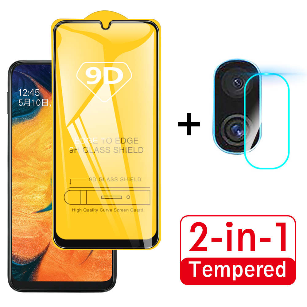 For Samsung Galaxy A70 A30 A20 A10 A50 Glass 9D Full Cover Tempered Glass + Back Camera Lens Film Screen Protector For A 70 20