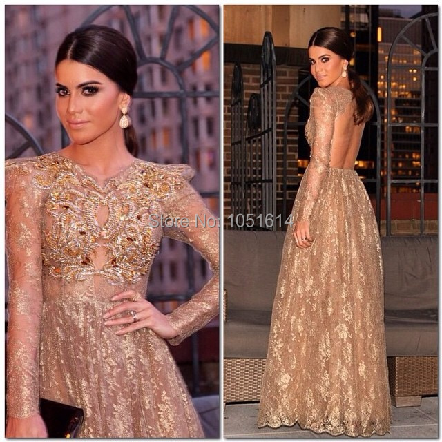 Conception de mode arabe col haut à manches longues Champagne or dentelle dos ouvert or perlé avant robe de soirée formelle longue robe de soirée