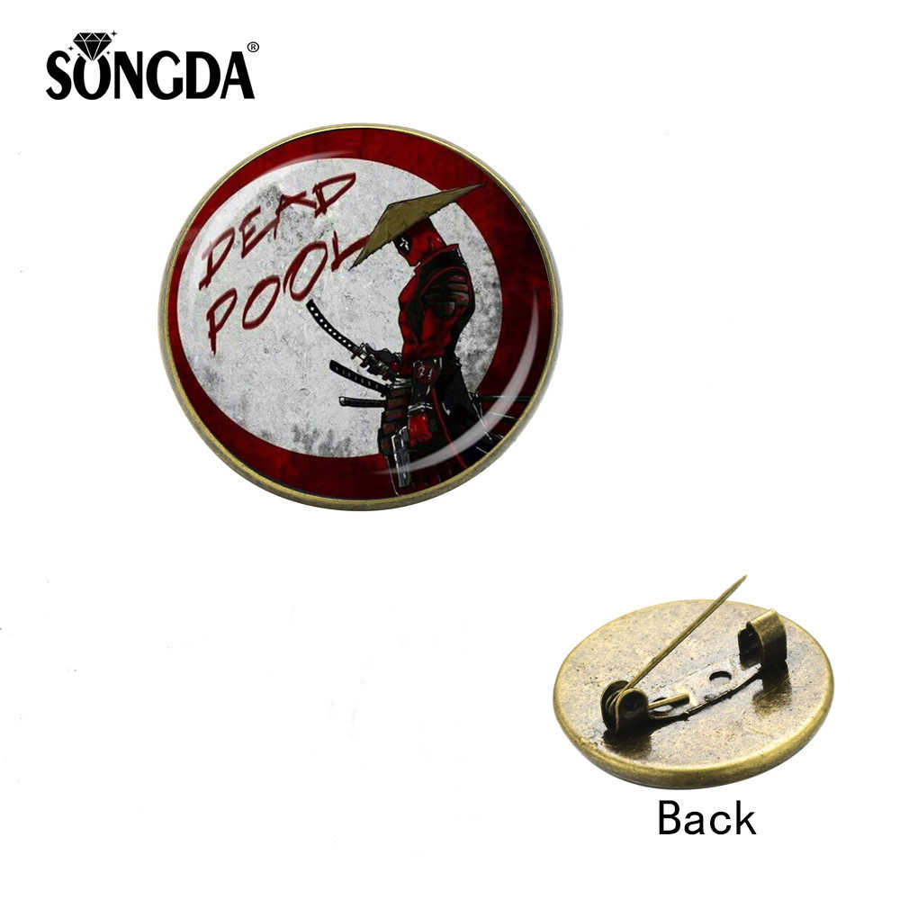 SONGDA cómic superhéroe Deadpool Pins vade men Metal cristal cabujón hecho a mano broche películas mochila de aficionado sombrero chaquetas insignias