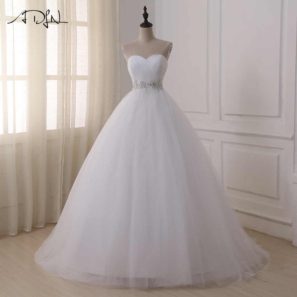 ADLN Stock Real Wedding Dresses Vestidos De Novia Sweetheart Sweep Train Lace Applique Corset Wedding Dress Robe De Mariage