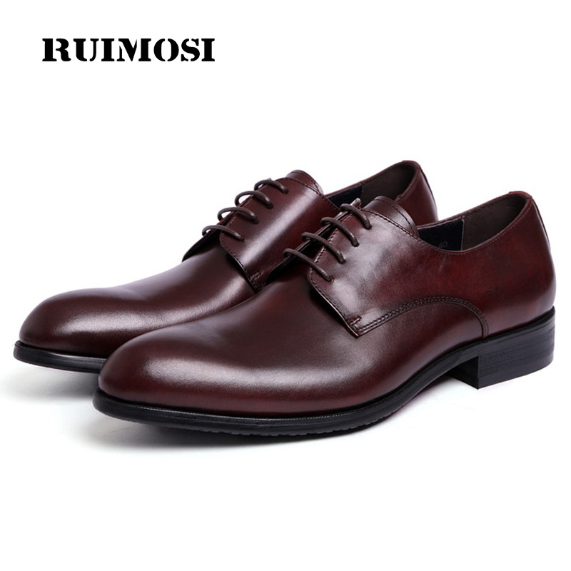 RUIMOSI Round Toe Derby Formal Man Dress Flats Shoes Genuine Leather Oxfords Luxury Brand Men's Wedding Bridal Footwear NC88
