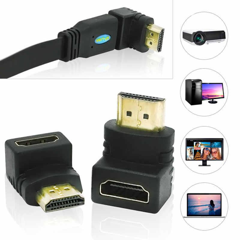 Высокое качество 90 градусов под прямым углом позолоченный HDMI адаптер типа мужчин и женщин для 1080 p tv HD tv