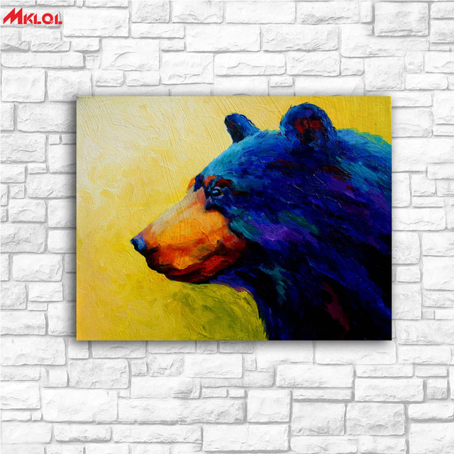 Large Wall Art Blue Bear Canvas Painting For Living Room Home ...