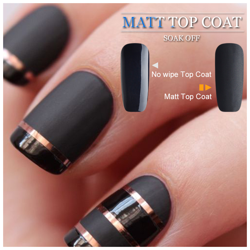 Vrenmol Black Color Gel Polish + Matt Matte Top Coat Uv Nail Gel ...