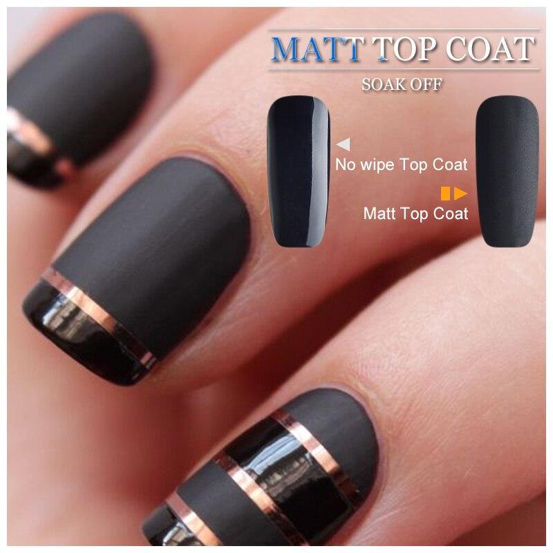 Vrenmol Nail Art Set Black Color Gel Polish + Matt Matte Top Coat ...