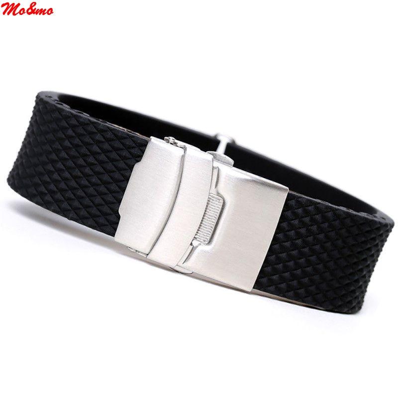 где купить New Rubber Watch Band Strap Straight End Bracelet Black Silicone Stainless Steel Double Click Folding Clasp 20 22 24mm по лучшей цене