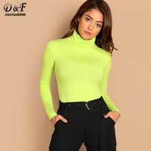 Dotfashion Green Turtleneck Slim Fitted Neon T-Shirt