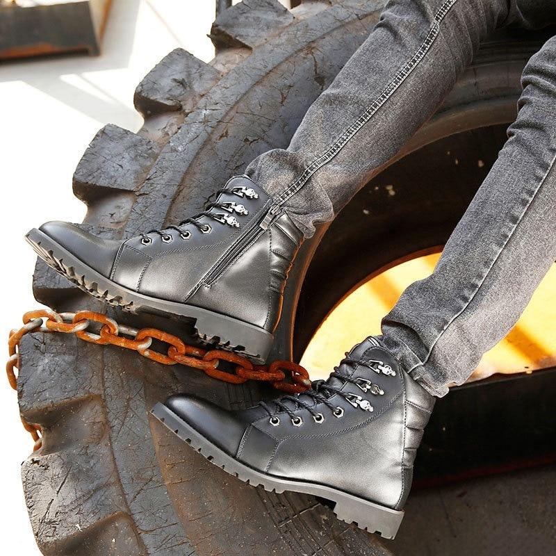 Marca Masculinos Do De Casual Tático Couro Inverno Luxo Moda Genuíno Da Homens 2018 Top Preto Sapatos As Militares Mycolen Dos Botas SZvwT