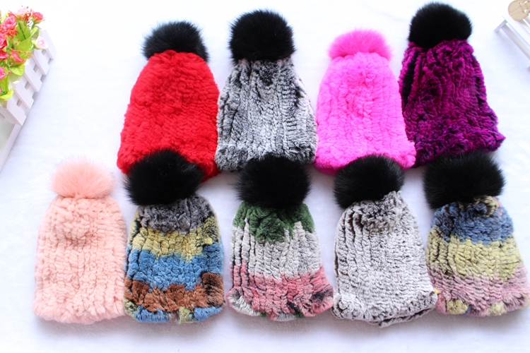 2018 new fashion natural knitted rex rabbit fur hat with pompom ball for kids child winter Russia fur warm fashion caps unisex