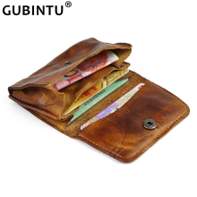 New Genuine Leather Card Holder Men Women Vintage Hand Made Old Short Credit Card Bag Coin Purse Case Small Slim Wallet for Male